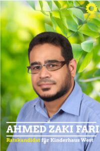 Ahmed Zaki Farie, Kandidat für B90 / Die Grünen zur Kommunalwahl 2020